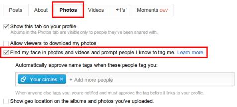 turn off face tagging in google+ via profile