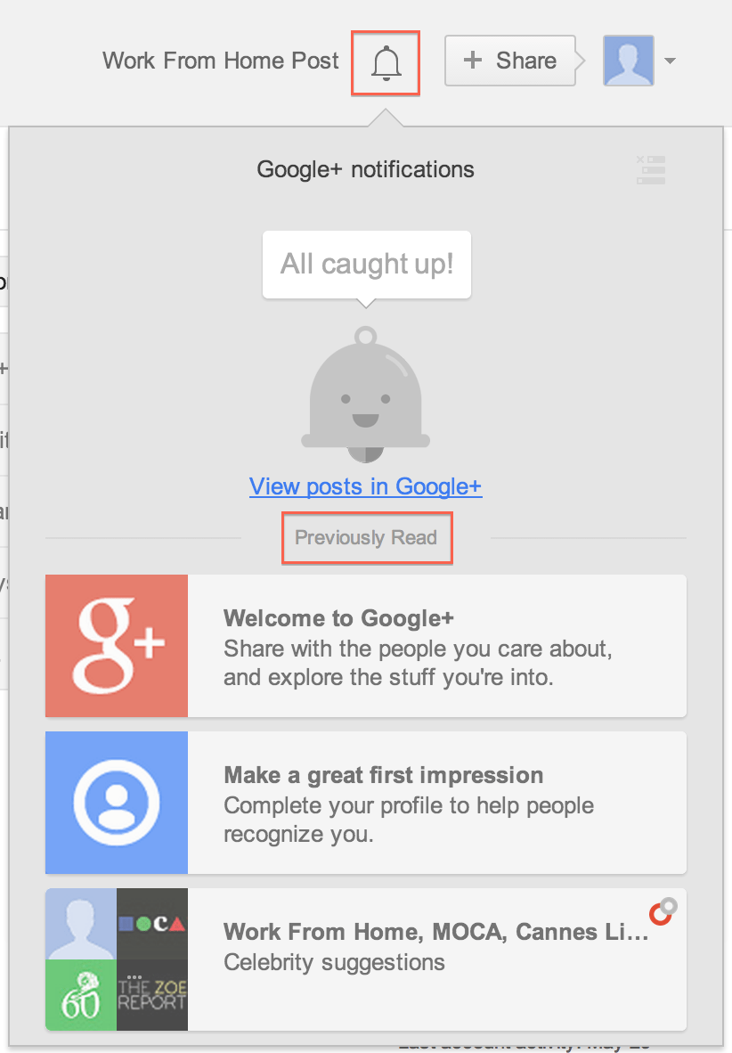 All new google+ notifications layout with bell icon ...