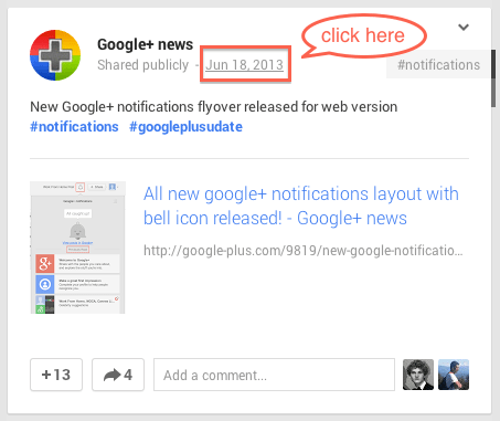 Step 1: Click on the timestamp of a Google+ post