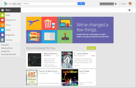 newly designed playstore home page