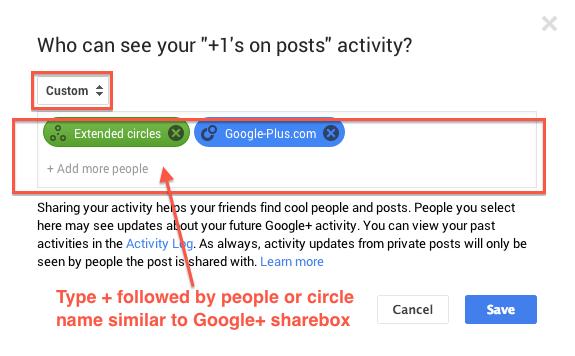 Custom option to select people/circles like sharebox