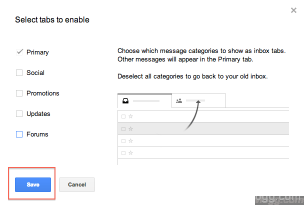 Click on Save to remove gmail tabs and restore old inbox