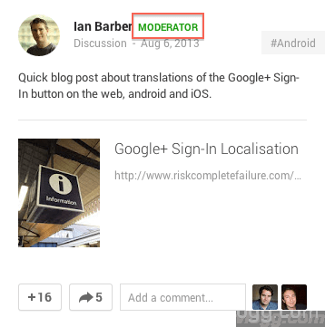 Google+ Communities Post Moderator Label