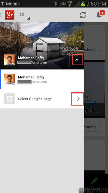 Switching Google+ Accounts and Google+ Pages Made Easy in Android App