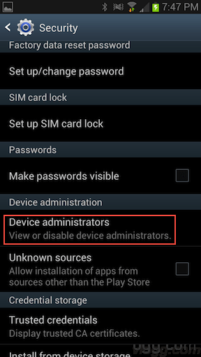 Android->Security->Device Administrators