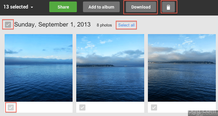 Download, Delete or Share Auto Backup Pictures
