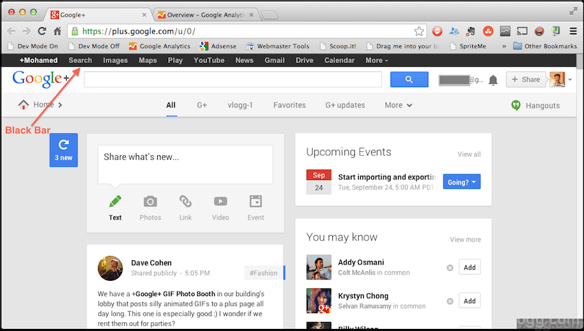 Google Black Bar on top of many online products