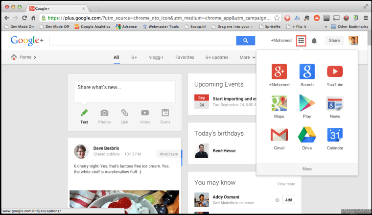 Google Bar replaced with an all New Chrome Style Apps Launcher Menu
