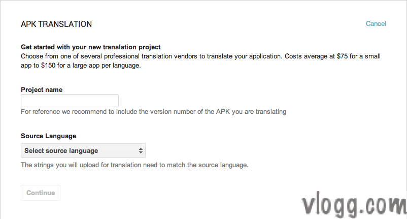 APK Language Translation Dialog after selecting for this service