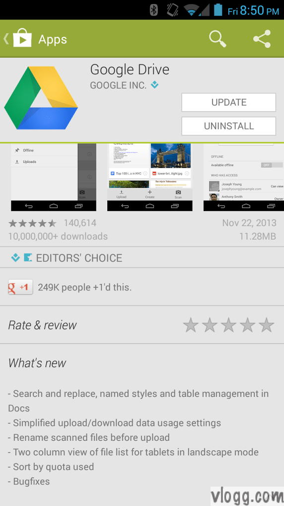 Google Drive Android App Version 1.2.461.14 Released