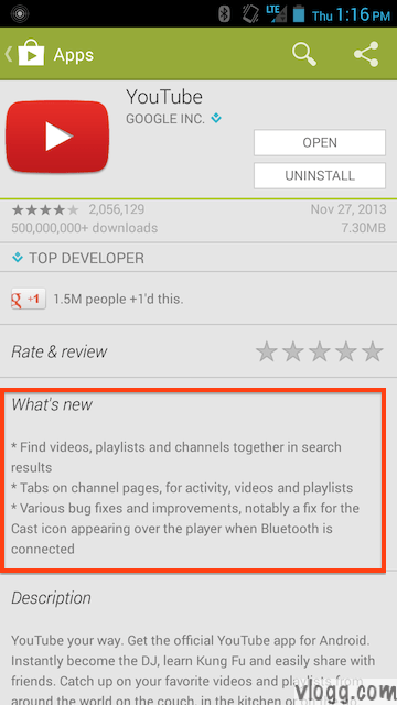 YouTube Android App version 5.3.24 Released [Images: vlogg.com]