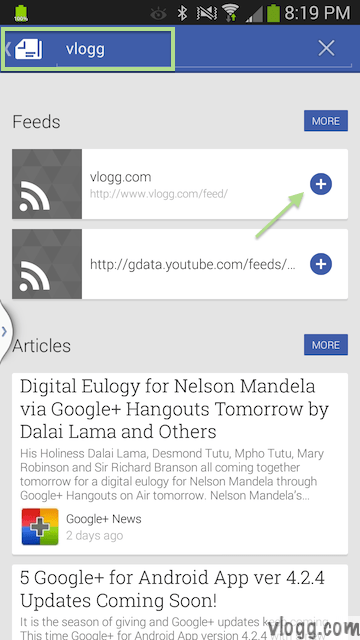 How to add vlogg.com to My News in Google Play Newsstand? [images: vlogg.com]