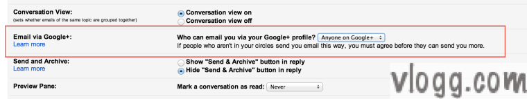 "How to change ""Who can Email via Google+?"" Setting [images: vlogg.com]"