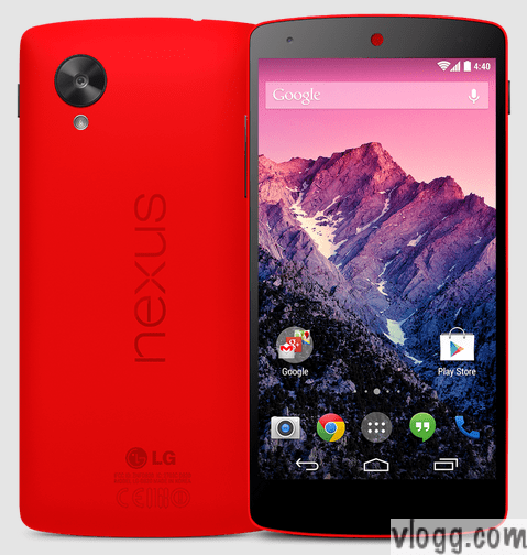 Google Nexus 5 Bright Red Android Phone with Kit Kat 4.4 on Play Store [images: Google Playstore]