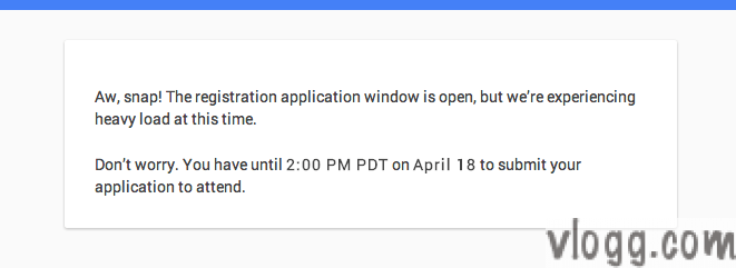 Google I/O 2014 Registration Page Overloaded
