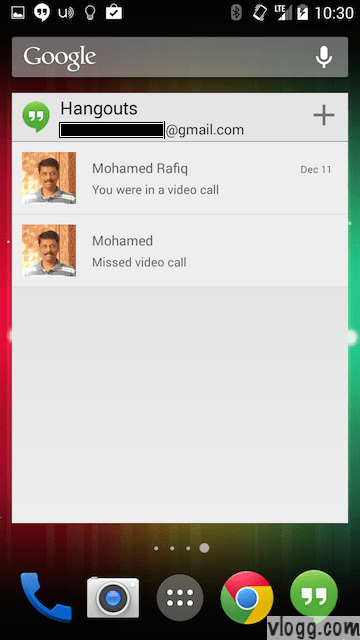 Google+ Hangouts Widgets for your Android Home Screen [images: vlogg.com]