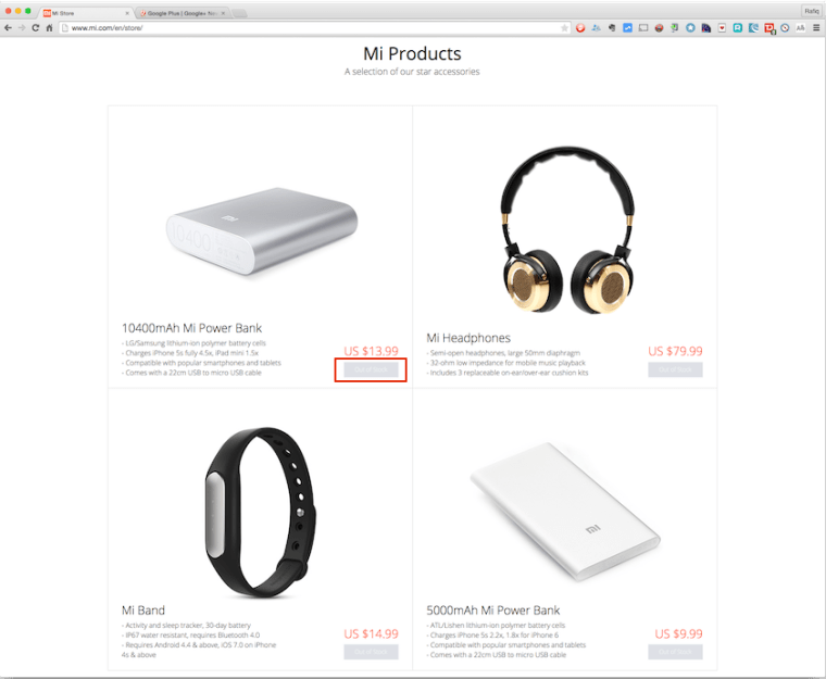 Xiaomi Mi Store showing Out Of Stock