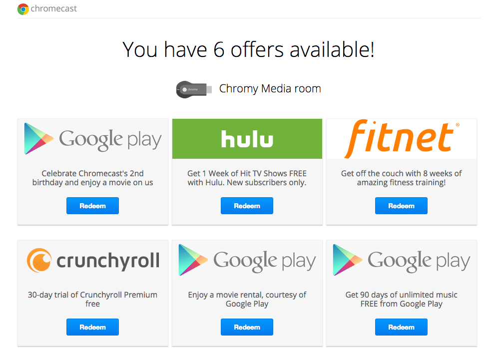 FREE Chromecast Offers