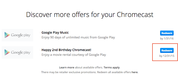 Free Chromecast Movie Rental Offer Coupon