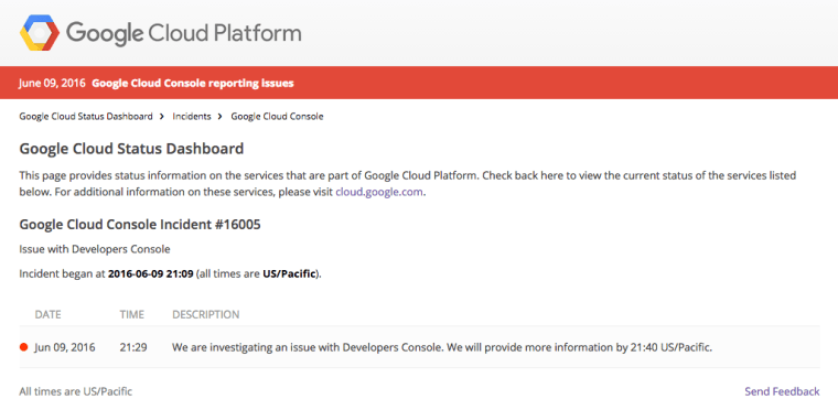 Google Cloud Console Outage June2016