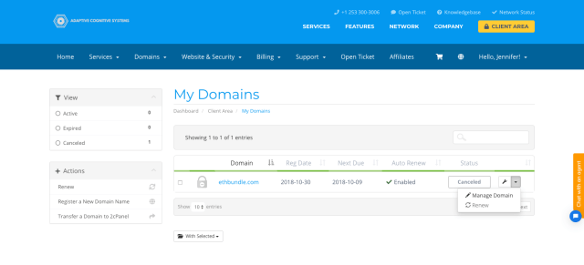 Manage Domain Name At 2cPanel