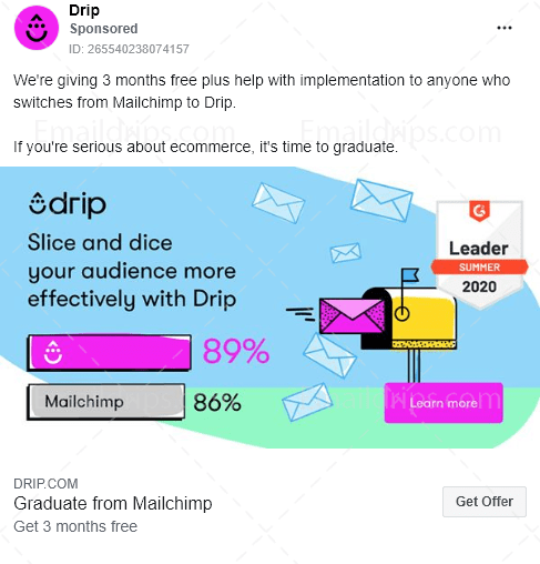 Drip - Migration Service - Mailchimp - Facebook Ad