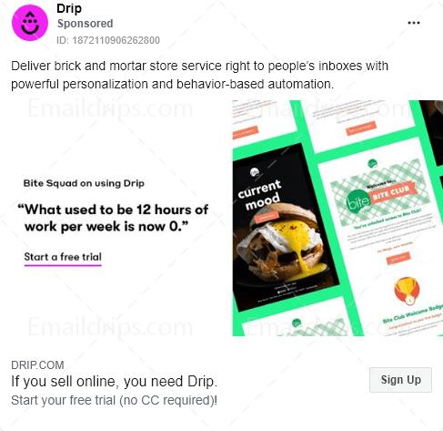 Drip - Free trial - Facebook Ad