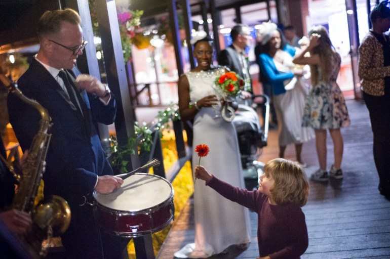 Wandering Soul entertaining wedding guests of all ages