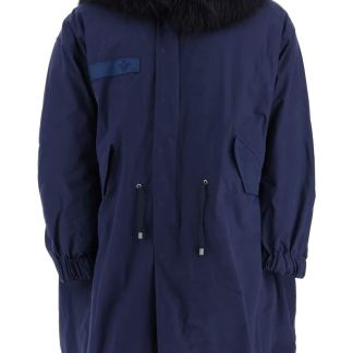MR & MRS ITALY M51 LONG PARKA WITH MURMASKY FUR S Blue Cotton, Fur