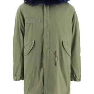 MR & MRS ITALY ARMY LONG PARKA WITH COYOTE FUR AND MURMASKY S Green Cotton, Leather, Fur