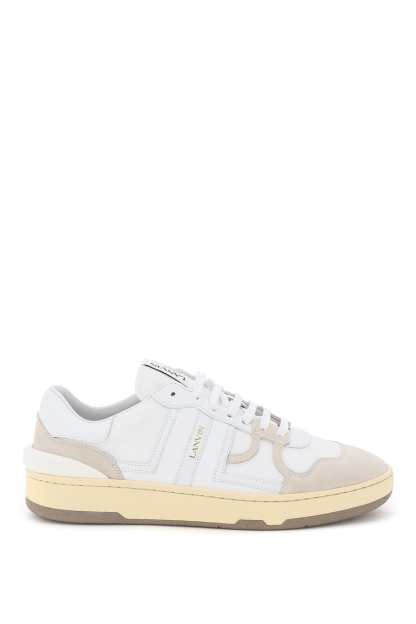 LANVIN CLAY SNEAKERS 40 White, Beige Leather, Technical
