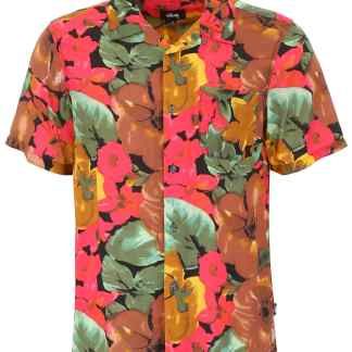 STUSSY WATERCOLOR FLOWER SHIRT S Brown, Red, Green