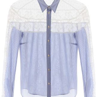 RED VALENTINO SHIRT WITH LACE AND PLUMETIS INSERT 38 Light blue, White Cotton, Silk