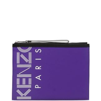 KENZO LOGO POUCH OS Purple, Black, White Technical, Leather