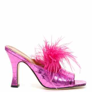 PARIS TEXAS CROCODILE PRINT MULES WITH FEATHERS 36 Fuchsia Leather