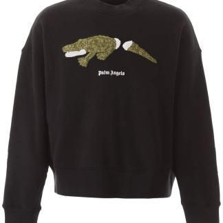 PALM ANGELS CROCODILE PATCH SWEATSHIRT S Black Cotton