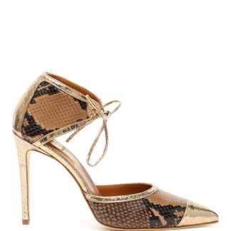 PARIS TEXAS PYTHON PRINT PUMPS 36 Brown, Gold, Black Leather