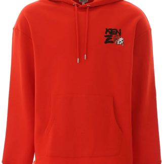 KENZO PRINTED HOODIE S Red Cotton