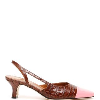 PARIS TEXAS CROC-PRINT SLINGBACKS 36 Brown, Pink Leather