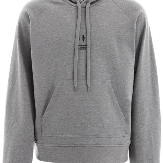 NEIL BARRETT OVERSIZED HOODIE WITH THUNDER PRINT M Grey Cotton