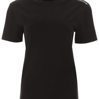 PACO RABANNE T-SHIRT WITH LOGO ON ONE SHOULDER XS Black Cotton