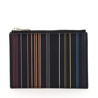 PAUL SMITH STRIPE CARD HOLDER POUCH OS Black, Orange, Yellow Leather