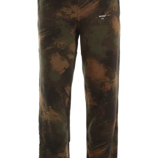 OFF-WHITE CAMOUFLAGE JOGGERS S Green, Beige, Black Cotton