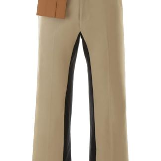 PALM ANGELS TROUSERS WITH DETACHABLE POCKET 46 Beige, Black Cotton