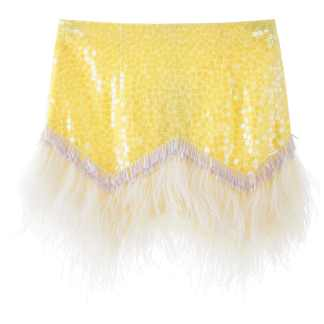 THE ATTICO MINI SKIRT WITH SEQUINS AND FEATHERS 40 Yellow