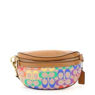 COACH 0 OS Beige, Yellow, Purple Leather, Cotton