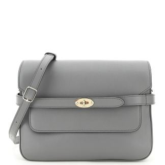 MULBERRY BELTED BAYSWATER ACCORDION BAG OS Grey Leather