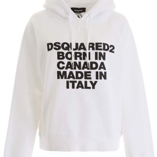 DSQUARED2 BORN IN CANADA HOODIE S White Cotton