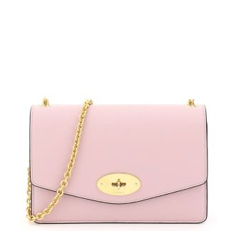 MULBERRY GRAIN LEATHER SMALL DARLEY BAG OS Pink Leather