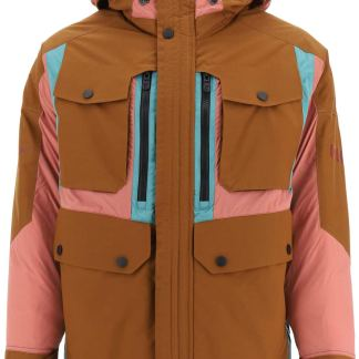COLMAR AGE TWO-TONE HOODED DOWN JACKET S Brown, Green, Black Technical, Cotton